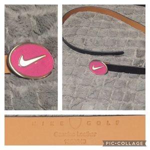 Nike Golf leather belt, L, black w/ pink swoosh